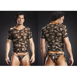 BLUE LINE V-Neck Tee Shirt grün camo L/XL