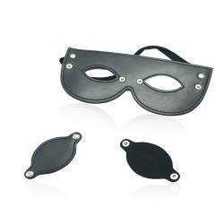 FAUX LEATHER STUDDED DETACHABLE BLINDFOLD