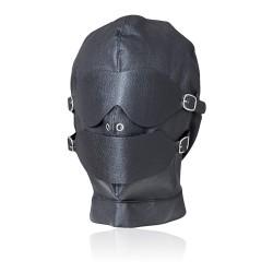 Capuche noire fétiche - yeux détachables et bouche avec bâillon