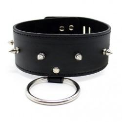Collier en cuir avec anneau, rivets, cadenas et clé