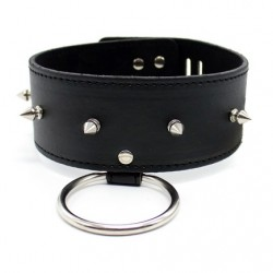 Leather Collar with ring, rivets, padlock & key