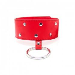 Collier en cuir avec anneau, cadenas et clé