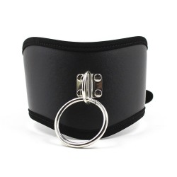 High leather collar with ring & buckle