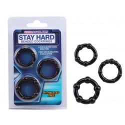 Stay Hard Beaded Cock Rings - Black