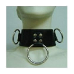 Collare in pelle con 3 anelli, lucchetto e chiave