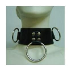 Collier en cuir avec 3 anneaux, cadenas et clé