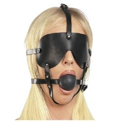 Ball Gag Geschirr mit Augenbinde